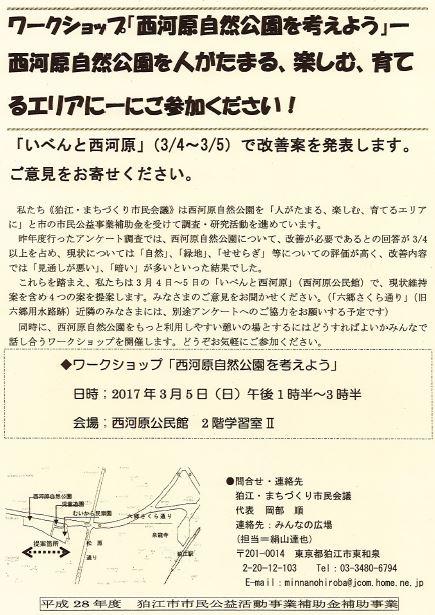 ワークショップ「西河原自然公園を考えよう」 @ 西河原公民館 2階学習室Ⅱ | 狛江市 | 東京都 | 日本
