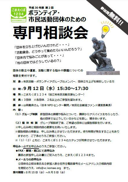 平成30年度 第2回 ボランティア・市民活動団体のための専門相談会 @ こまえくぼ1234(狛江市市民活動支援センター) | 狛江市 | 東京都 | 日本