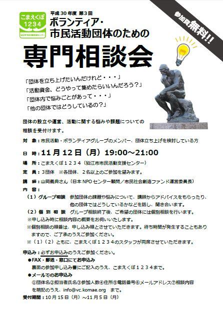 平成30年度 第3回 ボランティア・市民活動団体のための専門相談会(中止になりました) @ こまえくぼ1234(狛江市市民活動支援センター) | 狛江市 | 東京都 | 日本